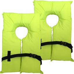 2 Pack Type II Neon Yellow Life Jacket Vest - Adult Universa