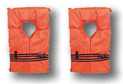 2 Pack Type II Orange Life Jacket Vest Adult Universal Boati