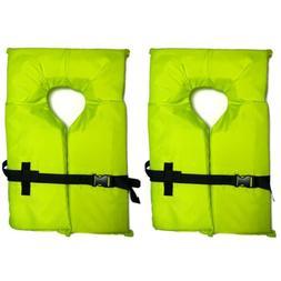 2x Type II Neon Yellow Life Jacket Vest - Adult Universal Ge