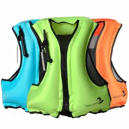 3 color Life Jacket Inflatable Snorkeling Vest Zip Adult Swi