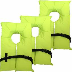3 Pack Type II Neon Yellow Life Jacket Vest - Adult Universa