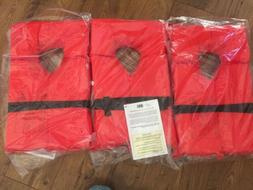 3Type II Orange Life Jacket Vest PFD - Adult Universal - US