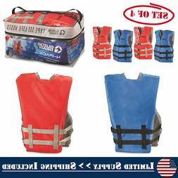 4-Pack Adult Life Jacket Universal Preserver USCG Type III F