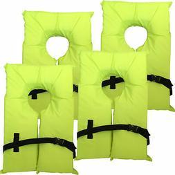 4 Pack Type II Neon Yellow Life Jacket Vest - Adult Universa