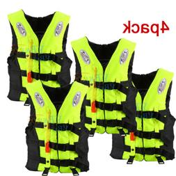4Pack Adult Life Jacket PFD Type Coast Guard Ski Vest With W