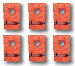 6 Pack Life Jacket Vest Preserver Type II Orange Adult Fishi