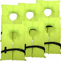 6 Pack Type II Neon Yellow Life Jacket Vest - Adult Universa
