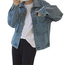 AUUOCC Coats Jeans Jacket Women Pockets Denim Jacket Femme B