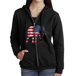 American Flag Elephant Women's Zip Hoodie with Pockets Sweat