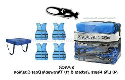 Blue 5-Pack EXXEL OUTDOORS 4 ADULT Universal Life Jackets  1