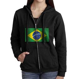 Brazil Flag Women's Zip Hoodie with Pockets Sweatshirt Pullo