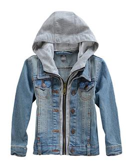 Mallimoda Kids Boys Girls Hooded Denim Jacket Zipper Coat Ou