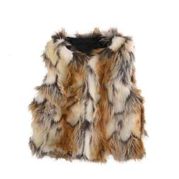 Per Baby Girl Faux Fur Vest Warm Sleeveless Jacket-Brown,M