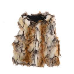 Per Baby Girl Faux Fur Vest Warm Sleeveless Jacket-Brown,M