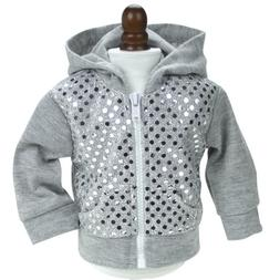 Sequin Detailed 18 Inch Doll Hoodie Gray Sweatshirt Fits 18