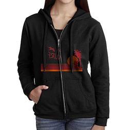 Sunset Surfing Women's Zip Hoodie with Pockets Sweatshirt Pu