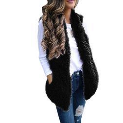 Sunward Women's Slim Open Front Sleeveless Cardigan Faux Fur