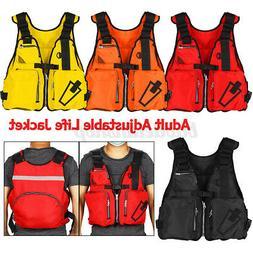 Adult Life Jacket Adjustable Preserver Fishing Vest Reflecti