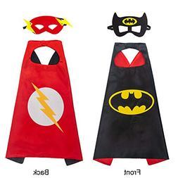 amasky Superhero Dress Up Costume Set, Double-Sided Satin Ca