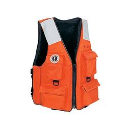 Mustang Classic Industrial PFD with 4 Pockets, Orange, Mediu