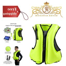 Compact Inflatable Life Jacket Swimming Snorkel Vest For Adu
