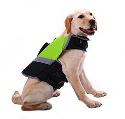 QBLEEV Dog Life Jacket, Reflective Stripes FloatationVest