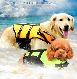 Dog Life Jacket Pet Safety Preserver Vest Puppy Swimming Flo