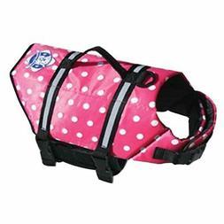 Dog Life Jacket Small Pink Polka Dot Life Vest Paws Aboard,