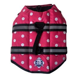 Paws Aboard Dog Life Vest Jacket Pink Polka Dot XS Adjustabl