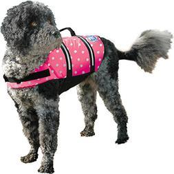 Paws Aboard Doggy Life Jacket Large-Pink Polka Dot