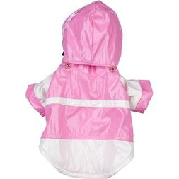 Pet Life DPF34502 PVC 2 Tone Raincoat with Removable Hood fo