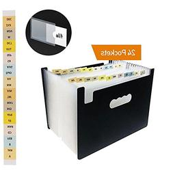 Expanding File Folder, Leegoal 24 Pockets Accordion File Org