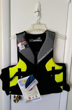 STEARNS HYDROPRENE YELLOW/BLACK ADULT LIFE JACKET 42-50 CHES