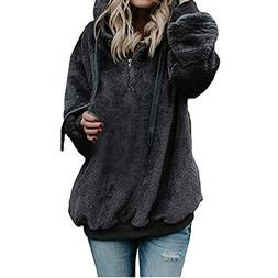 iDWZA Women's Winter Warm Zipper Up Hooded Sweatshirt Coat O