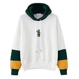iDWZA Womens Patchwork Cactus Print Hoodie Sweatshirt Hooded
