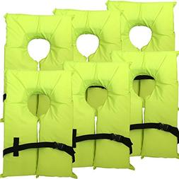 Hardcore Water Sports 6 Pack Type II Neon Yellow Life Jacket