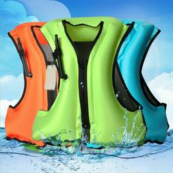 Inflatable Life Jacket Vest Swimming Snorkeling Water Sport