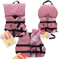 Kids Girls Life Jacket Boat Swimming Swim Vest PFD Pink Plai