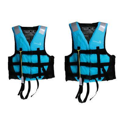 2pcs/Set Adult Kids Jacket Vest Swimming Jet Blue