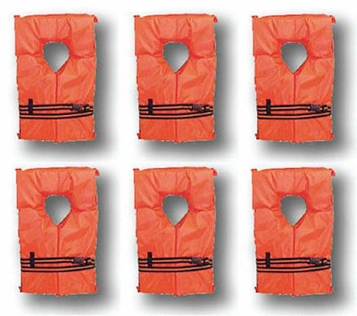 6 Vest Preserver Type Orange Adult Fishing Boating USCG PFD