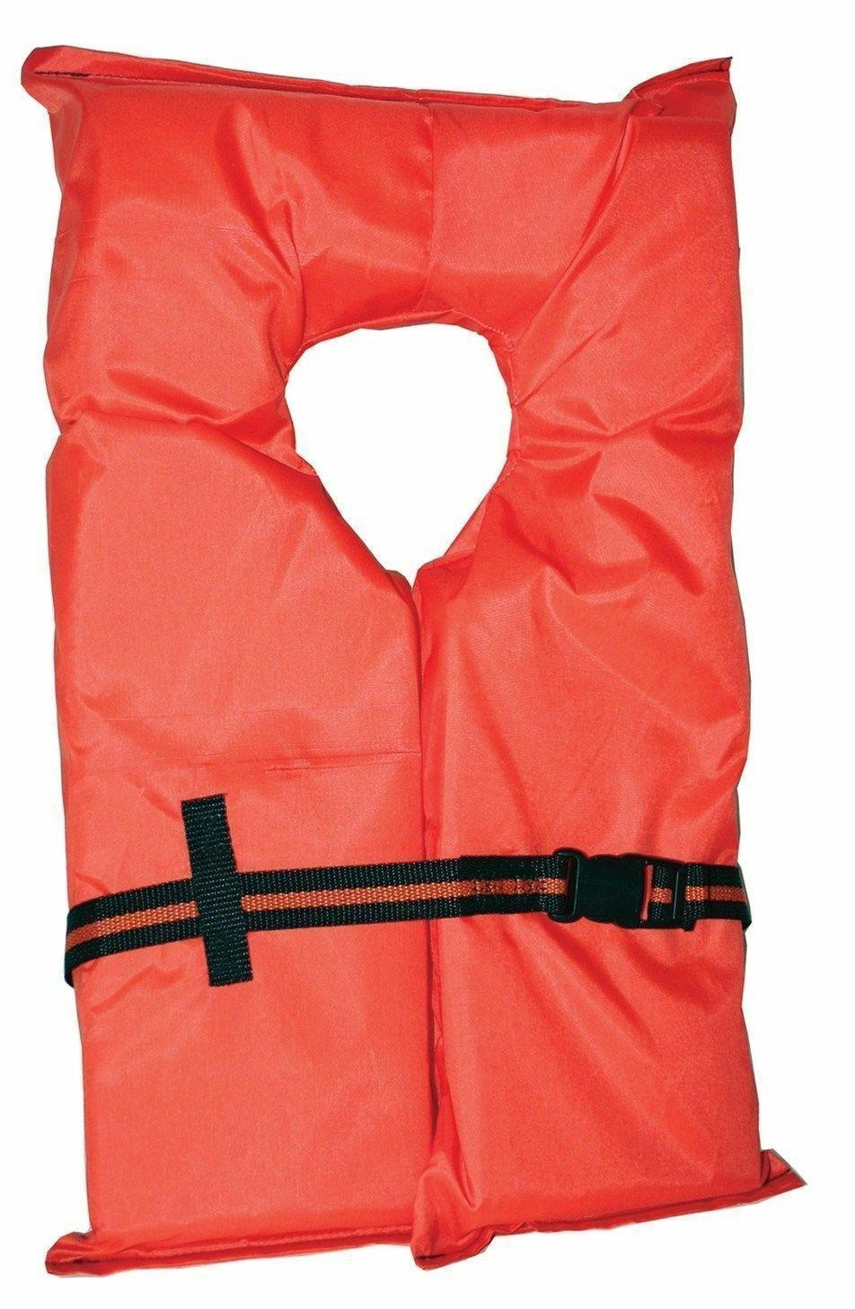 6 Pack Life Vest Preserver Type Orange Adult USCG PFD