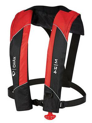 manual inflatable life jacket vest red includes