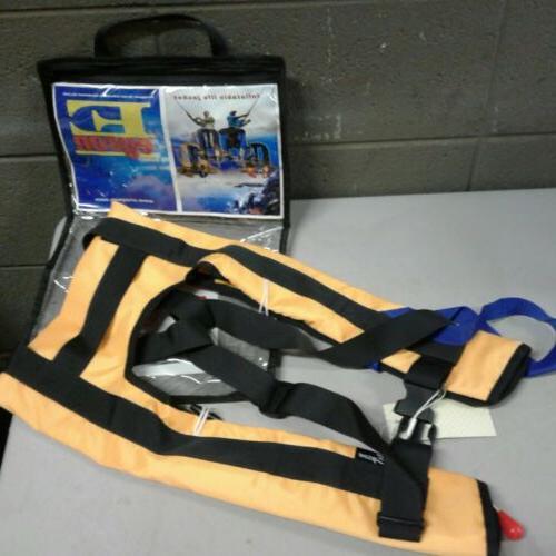 adult inflatable life jacket yellow new dde21