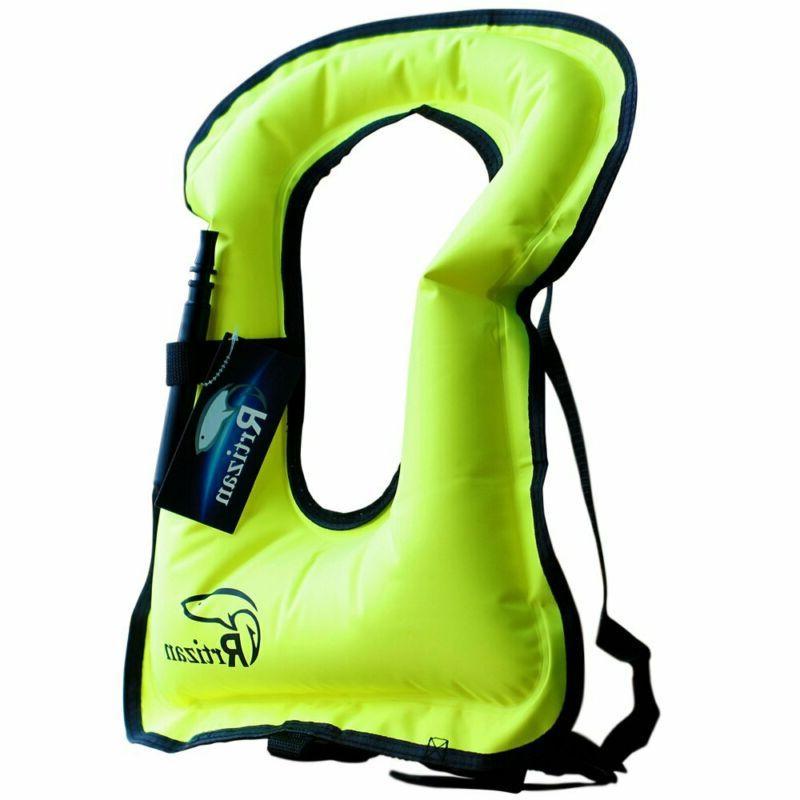 Rrtizan Adult Inflatable Snorkel Vest Portable Life Jacket f