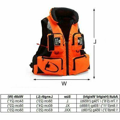 Adult Jacket Adjustable Fishing Vest Swimming Kayak