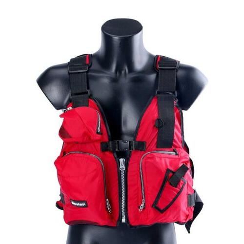 Boat Buoyancy Aid Kayak Fishing Vest Green/Red/Yellow US