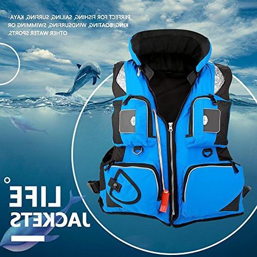 Fishing Multi-Pocket Watersports Buoyancy Aid Vest with Whistle Sailing Kayaking