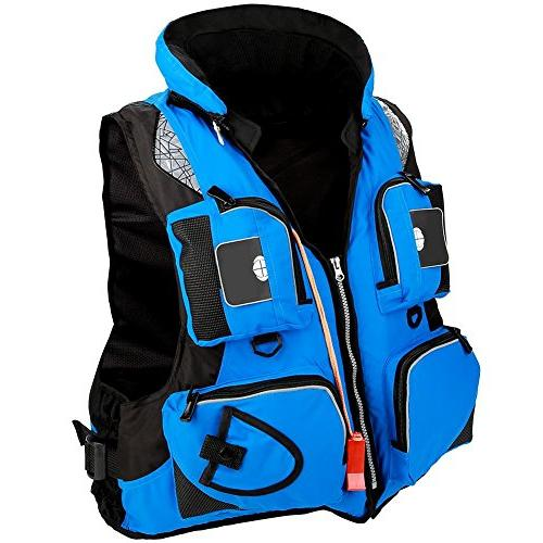 Fishing Life Jacket Multi-Pocket Detachable Buoyancy Aid Vest Whistle for Swimming Sailing