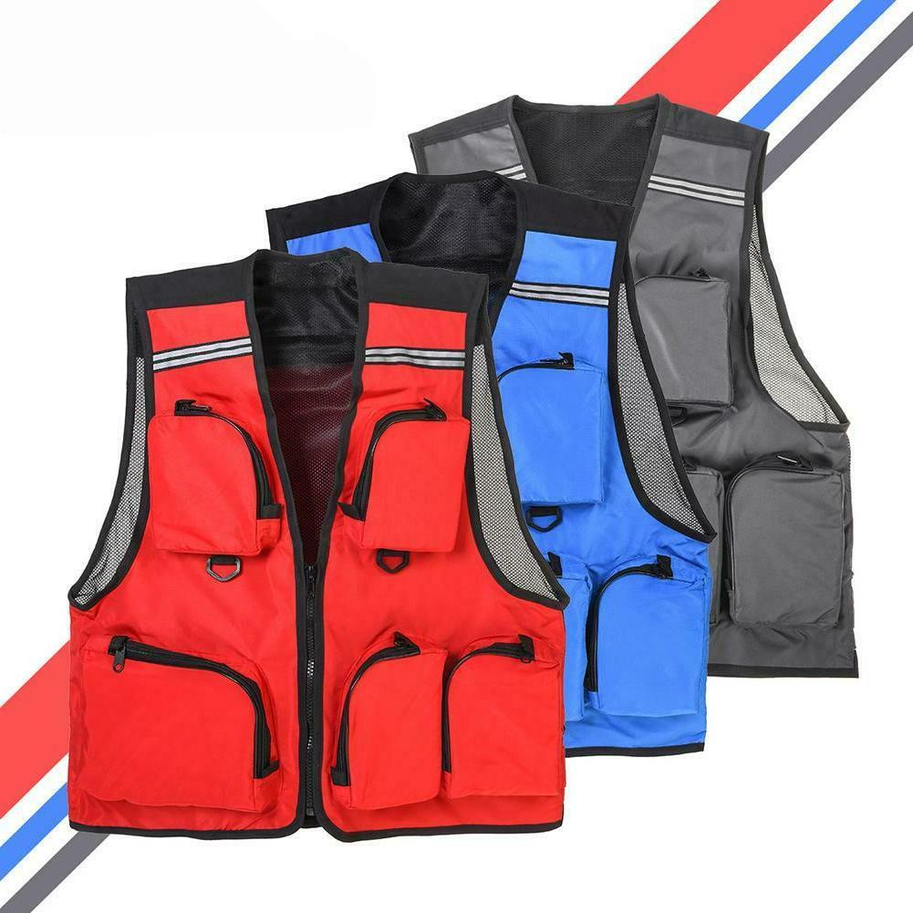 LEO Outdoor Sport Fishing Life Vest Coat 5 Pocket Swimming L