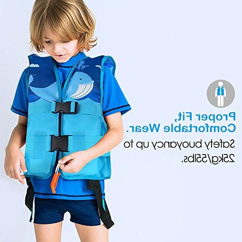 Life Jacket for HeySplash Child Swim Vest Flotation Cute Blue, Large
